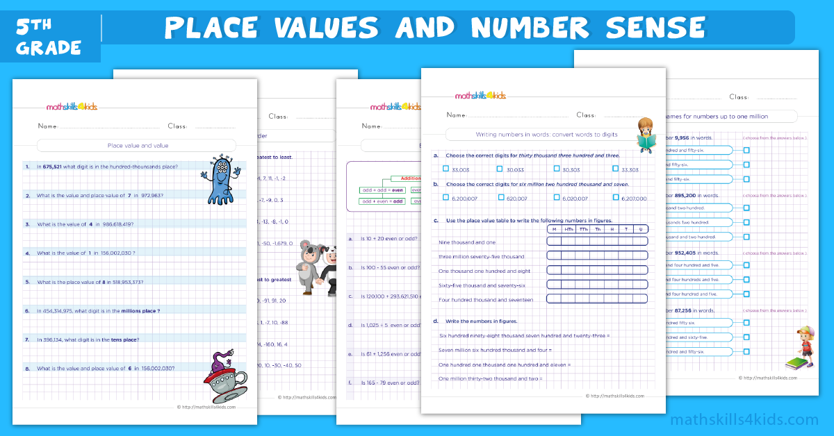 fifth grade math worksheets - place values and number sense worksheets for grade 5