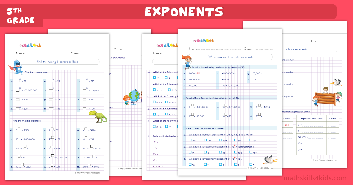 Exponents worksheets for grade 5 pdf - Powers of 10 and exponents 5th grade exercises with answers