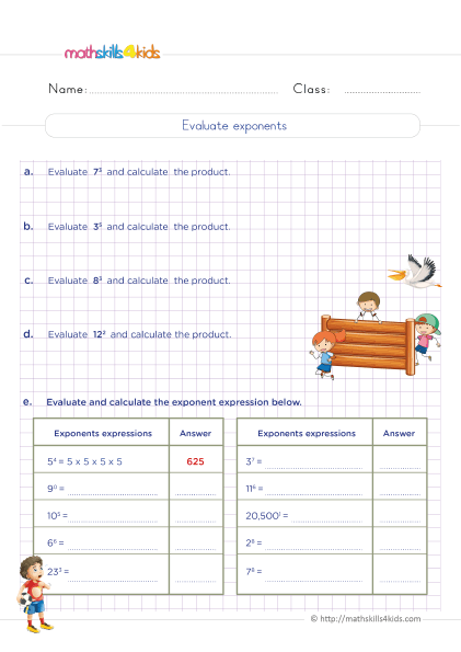 5th Grade Math worksheets with answers - How do you evaluate and caculate exponent expressions?