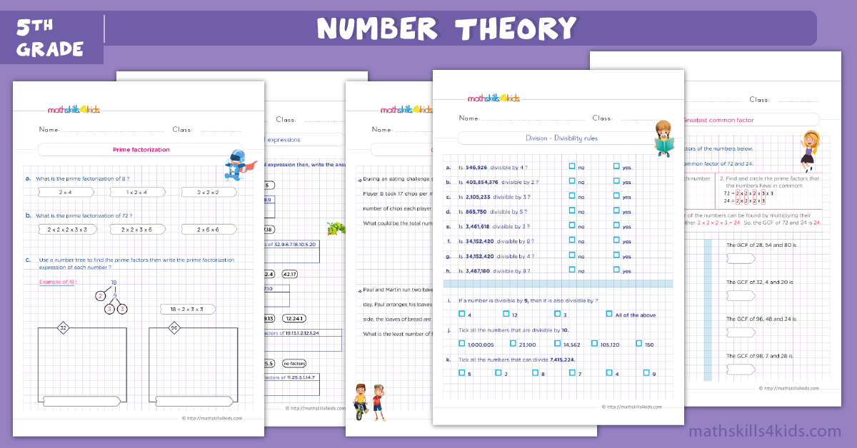 5th grade math worksheets - number theory worksheets for grade 5