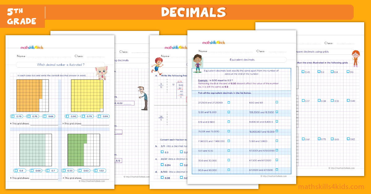Decimals worksheets for Grade 5 with answers - Understanding of the decimals concept grade 5