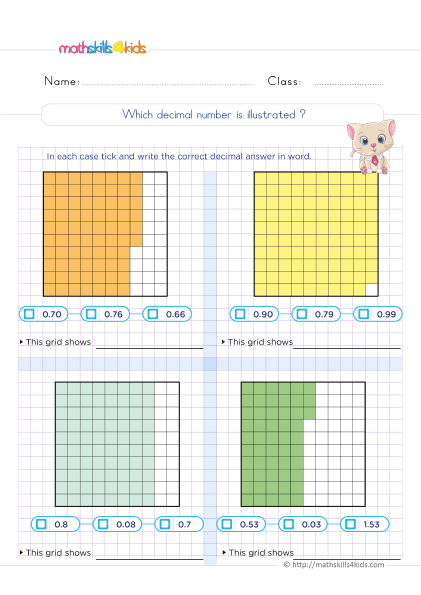 5th Grade Math worksheets with answers - What decimal number is illustrated? - Finding decimals Models practice