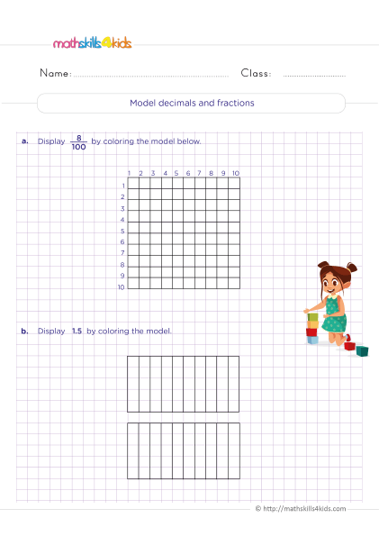 5th Grade Math worksheets with answers - How to use models to relate fractions and decimals