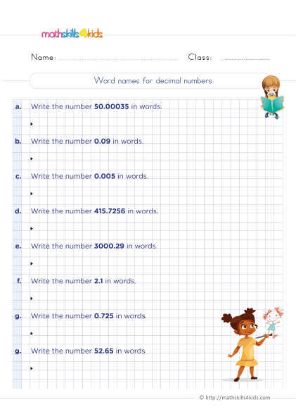 5th Grade Math worksheets with answers - Finding word names for decimal numbers