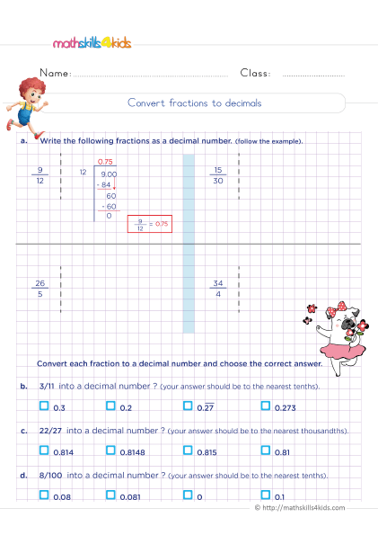 5th Grade Math worksheets with answers - Converting fractions to decimals practice