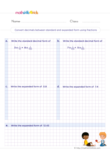 5th Grade Math worksheets with answers - How to Convert decimals between standard and expanded form using fractions