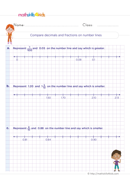 5th Grade Math worksheets with answers - How do you compare decimals and fractions on number lines