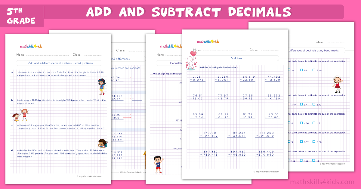 5th grade math worksheets - add and subtract decimals worksheets for grade 5