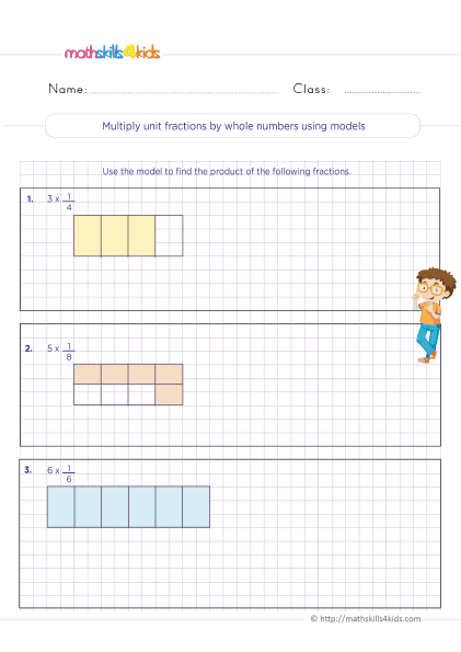 5th Grade Math worksheets with answers - Multiplying unit fractions by whole numbers using models