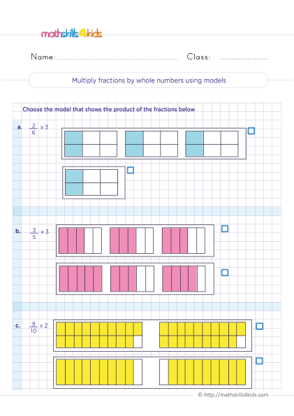 5th Grade Math worksheets with answers - Multiplying fractions by whole numbers using models