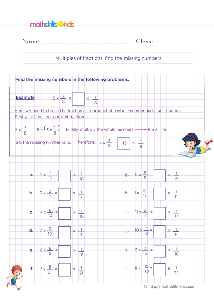5th Grade Math worksheets with answers - Multiplying fractions Finding the missing numbers