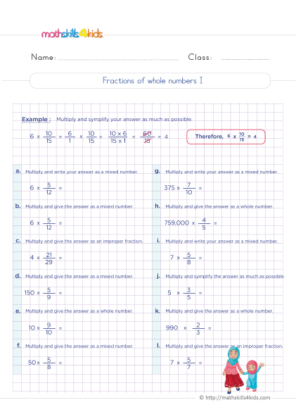 5th Grade Math worksheets with answers - How do you find the fraction of whole numbers