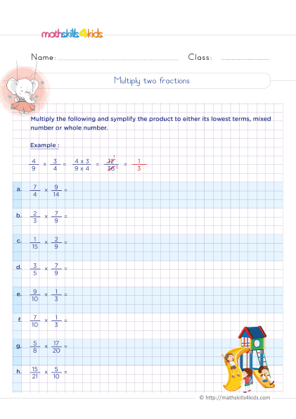 5th Grade Math worksheets with answers - How to multiply two fractions with unlike denominators