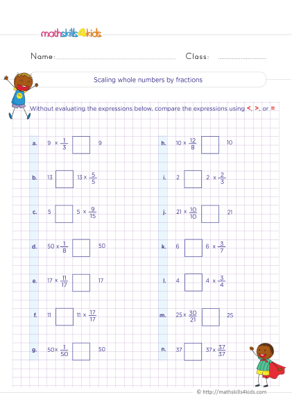 5th Grade Math worksheets with answers - scaling whole numbers by fractions practice