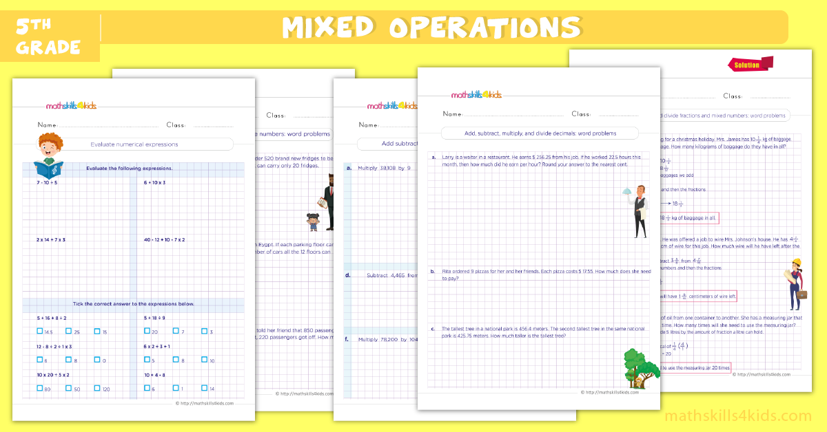 Mixed operations math worksheets pdf for grade 5 - Multi step word problems 5th grade worksheets