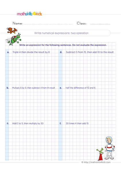 5th Grade Math worksheets with answers - Writing and interpreting numerical expressions