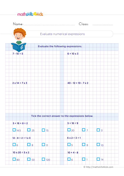 5th Grade Math worksheets with answers - How do you evaluate numerical expressions