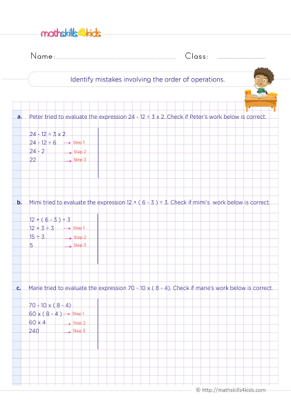 5th Grade Math worksheets with answers - order of operations find the mistake - Identifying mistakes involving the order of operations