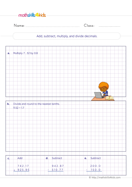 5th Grade Math worksheets with answers - Adding subtracting multiplying and dividing decimals
