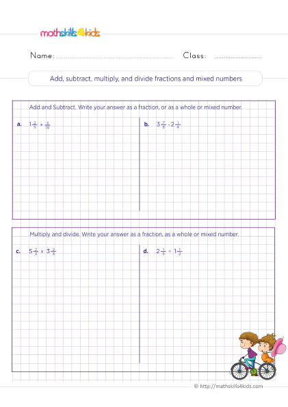 5th Grade Math worksheets with answers - How to Add subtract multiply divide fractions with mixed numbers