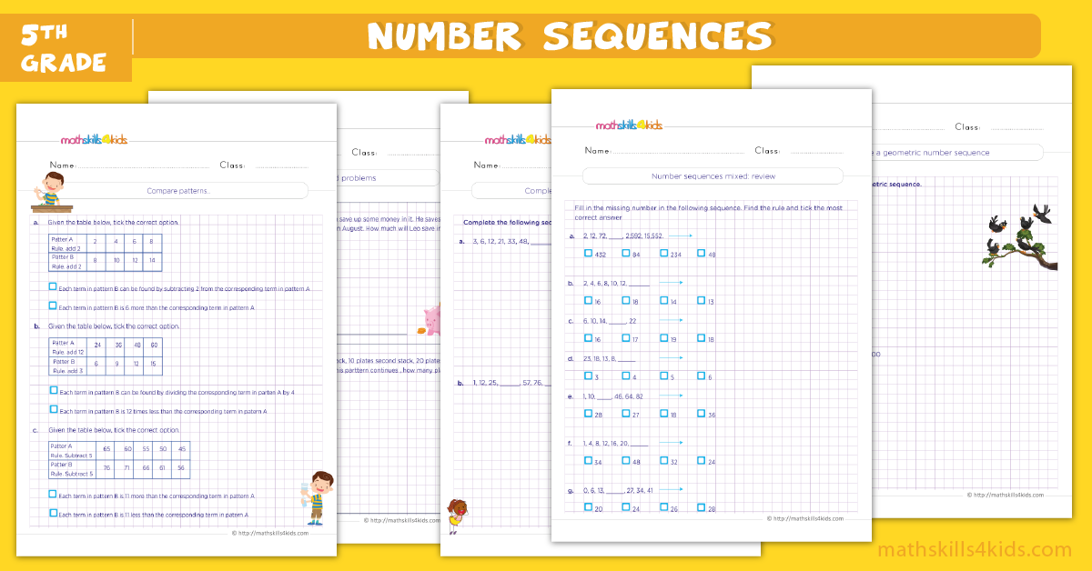 fifth grade math worksheets - number sequences math worksheets for grade 5