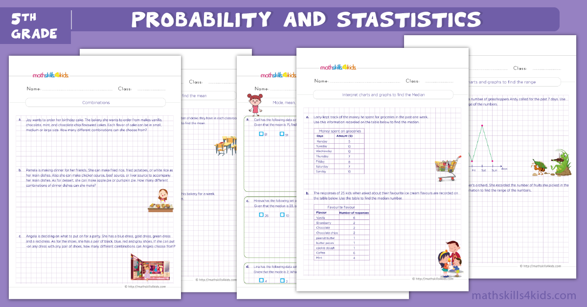 probability and stastistics worksheets pdf for 5th grade