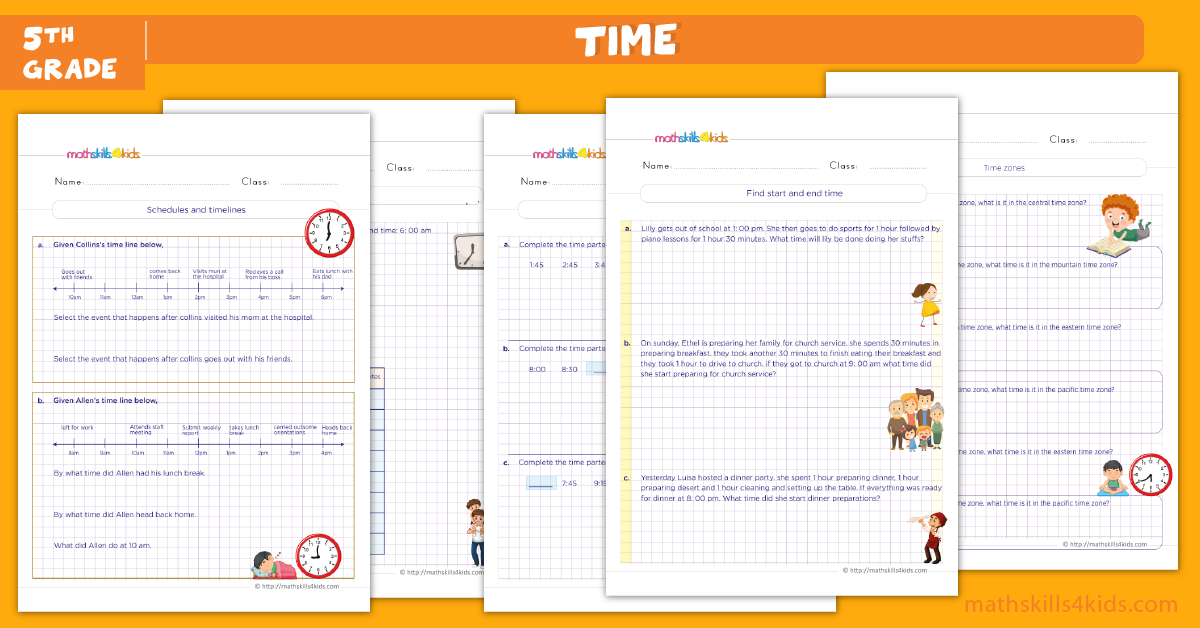 fifth grade math worksheets - telling time worksheets for grade 5