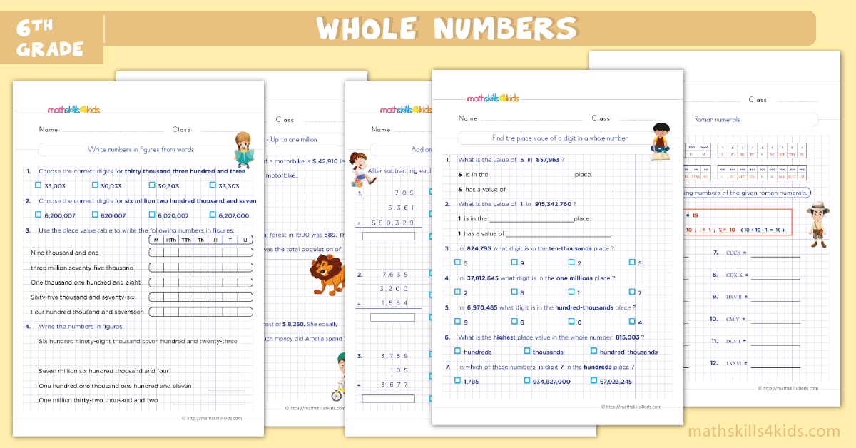 sixth grade math worksheets - whole numbers worksheets