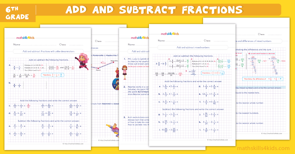 6th grade math worksheets - add and subtract fractions worksheets