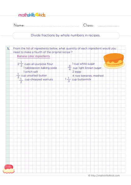 division practice - divide fractions by whole numbers in recipes worksheets