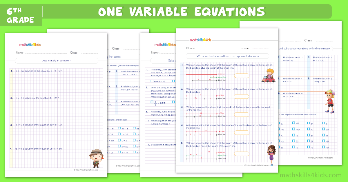 One step equations worksheets for grade 6