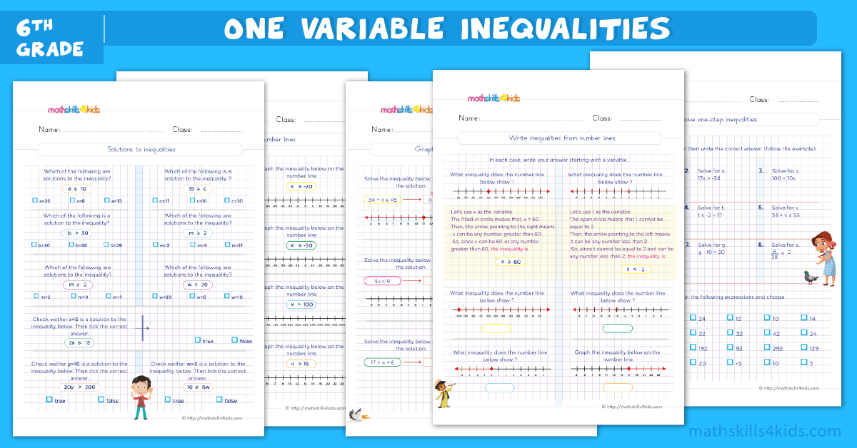 solving and graphing inequalities worksheets pdf for 6th grade