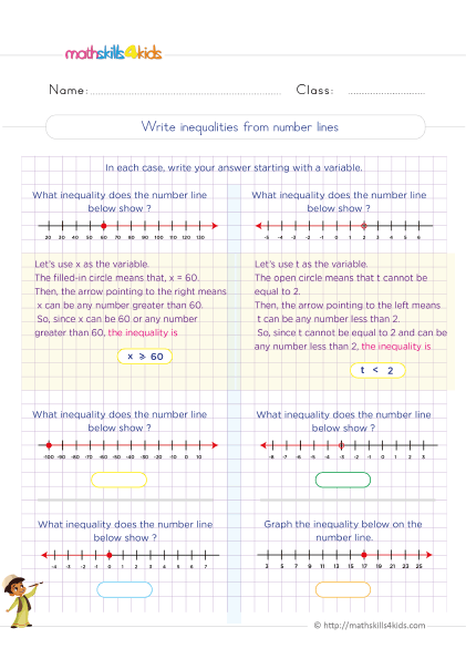 Solving And Graphing Inequalities Worksheets Pdf For 6th Grade - 6th Grade  Linear Inequalities With Answers Worksheets