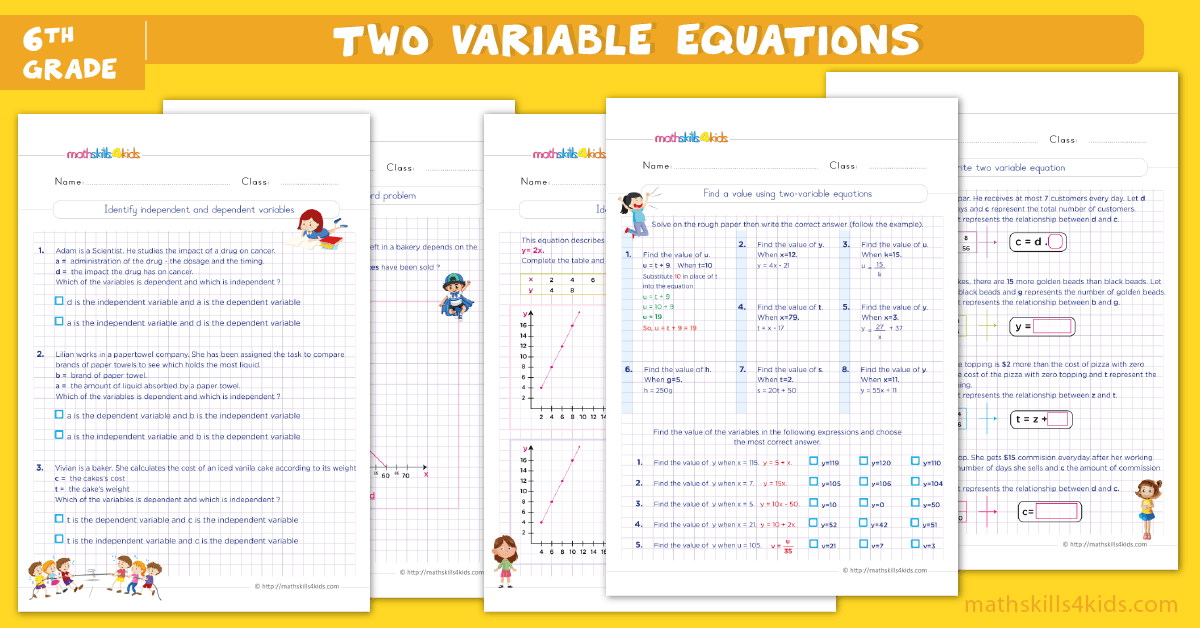 Two-step equations worksheets for grade 6