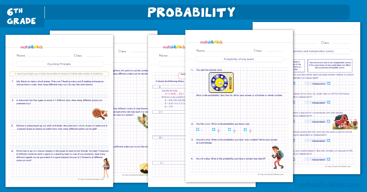 Probability Worksheets for Grade 6 with Answers