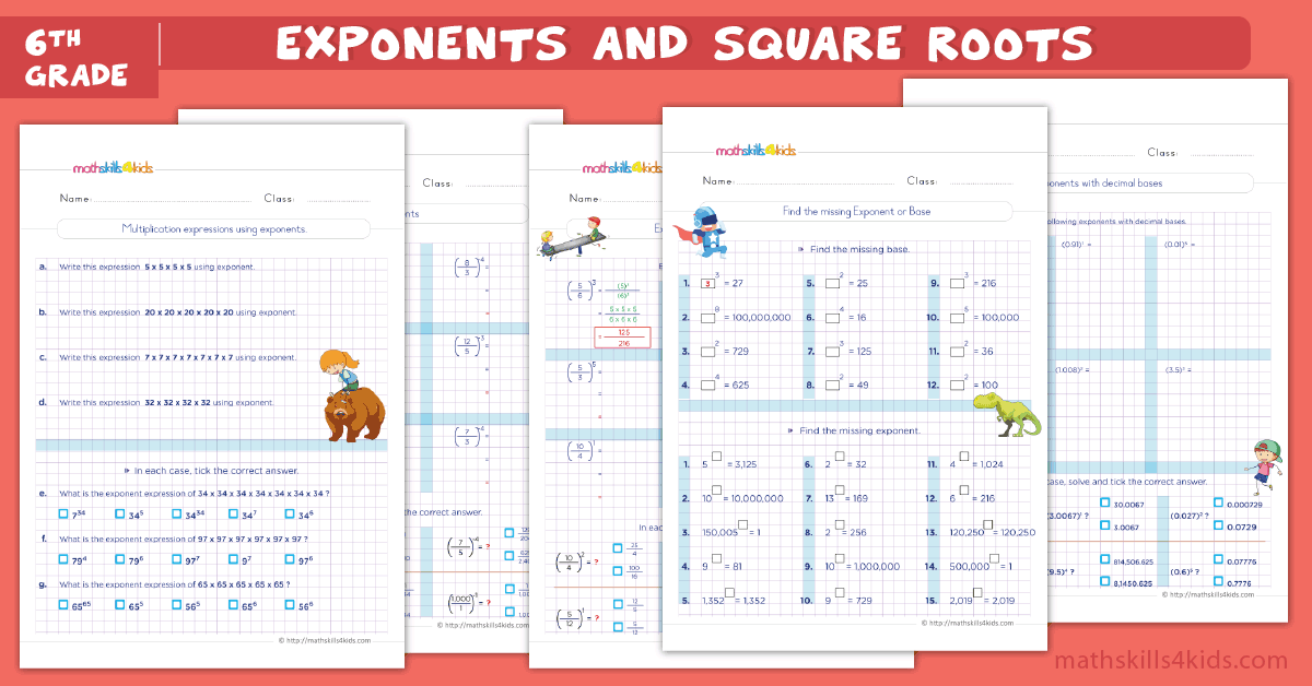 sixth grade math worksheets - exponents and square roots worksheets