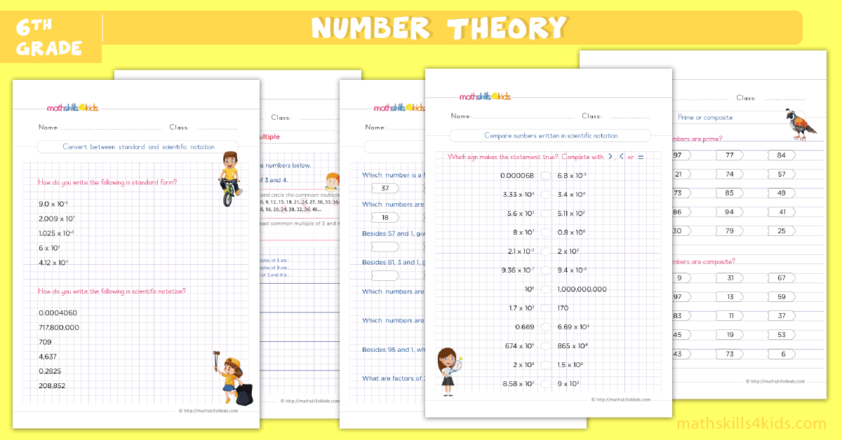 6th grade math worksheets - number theory worksheets