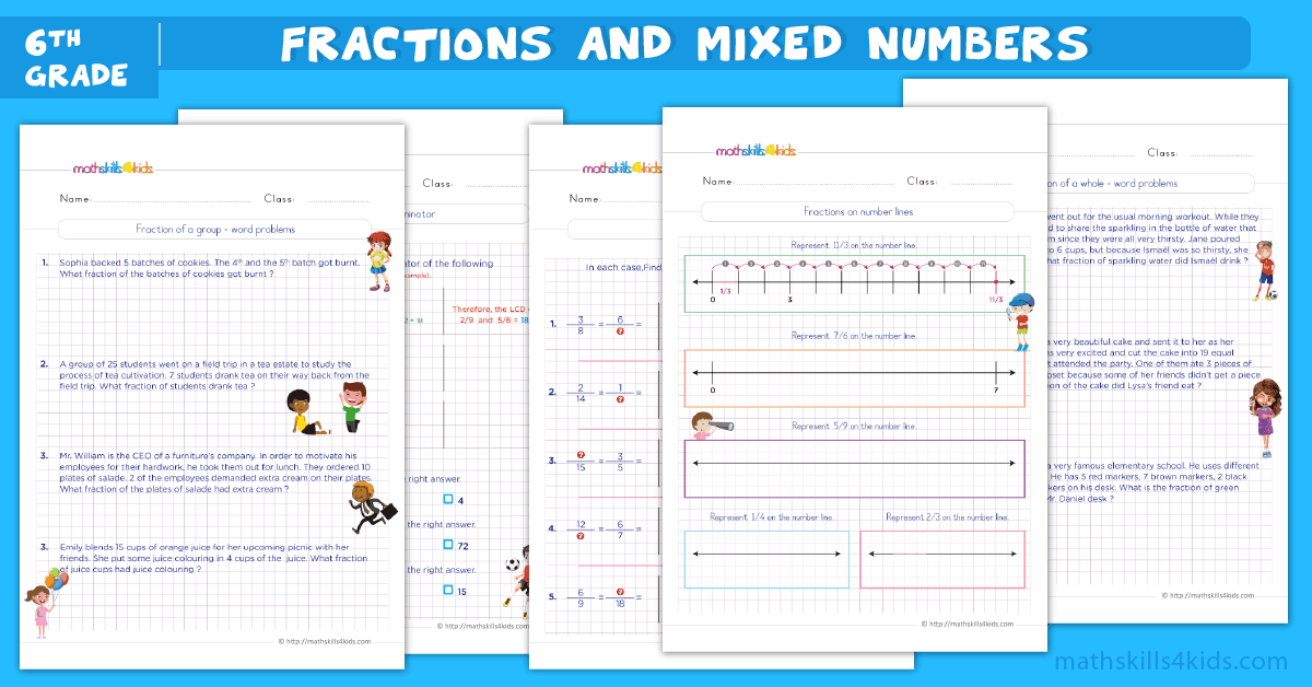 6th grade math worksheets - fractions and mixed numbers worksheets