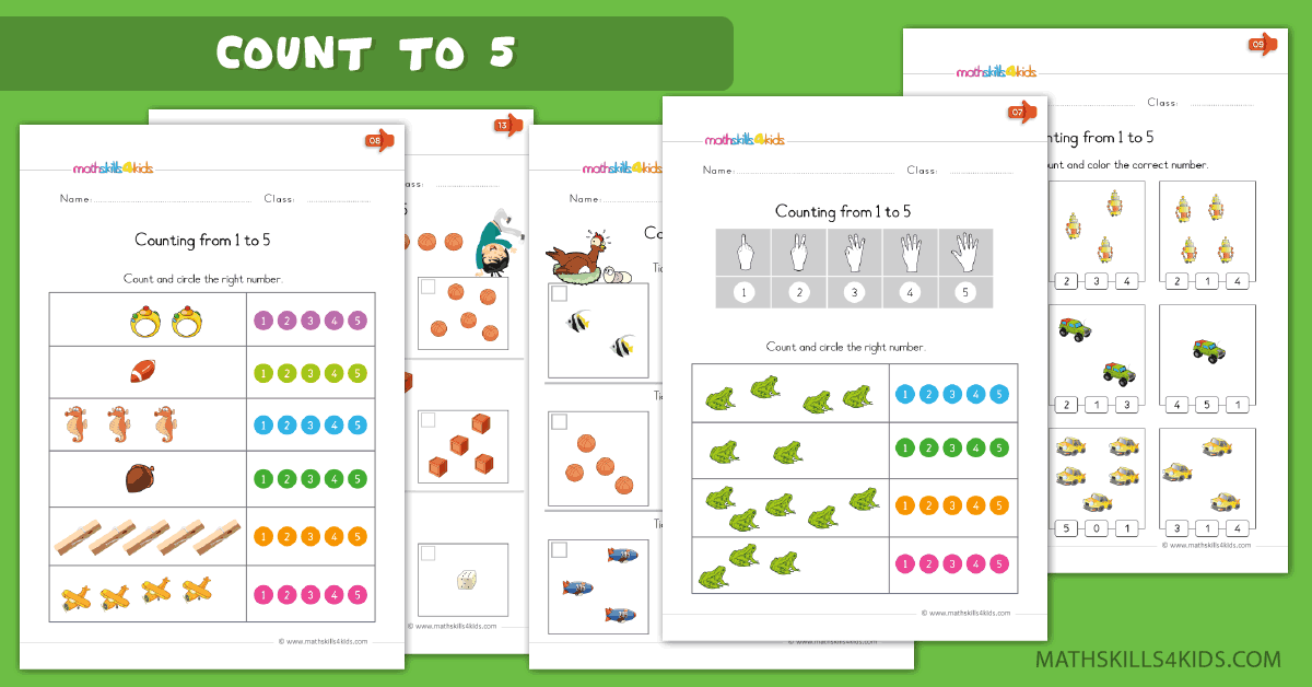 Kindergarten math worksheets - Learn to count up to 5 worksheets