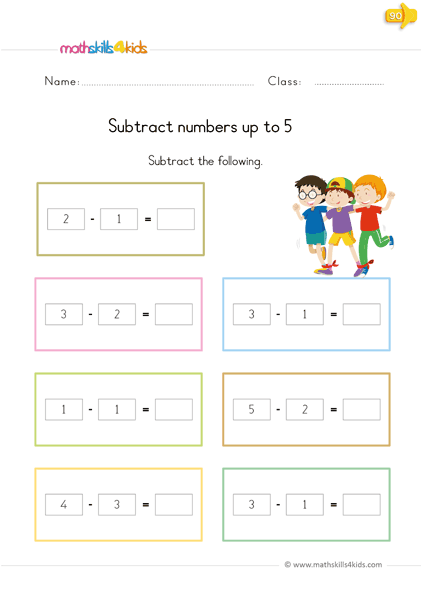subtraction up to 5 worksheets