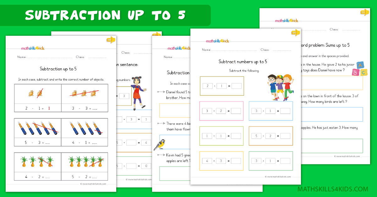 Kindergarten math worksheets - subtraction up to 5 worksheets