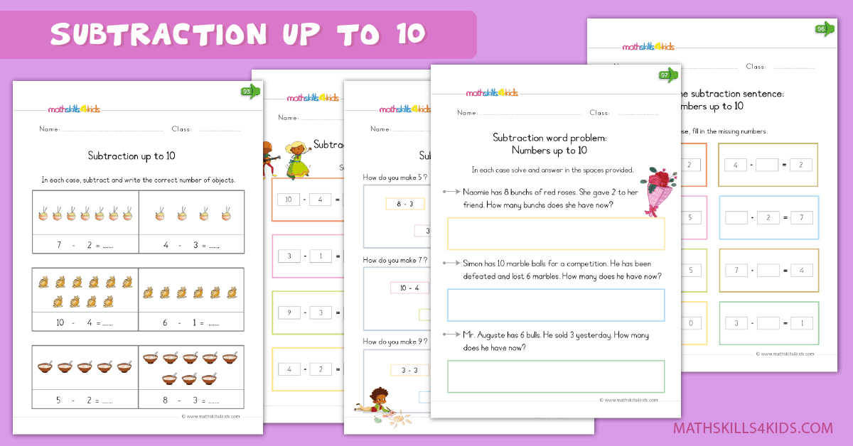 Kindergarten math worksheets - subtraction up to 10 worksheets