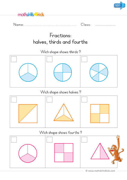 fractions worksheets - identify halves thidrs fourths