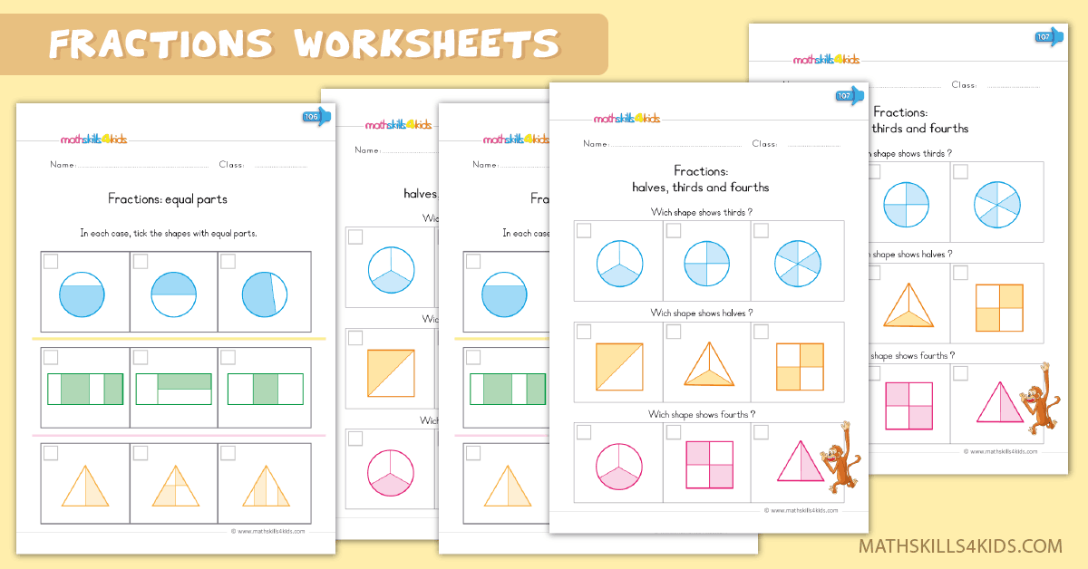 Kindergarten math worksheets - fractions up to 10 worksheets
