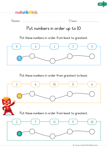 pre k classify worksheets - put the numbers in order
