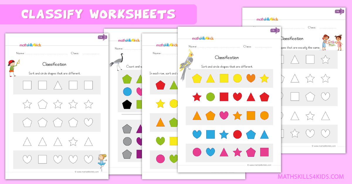 Kindergarten math worksheets - classify worksheets