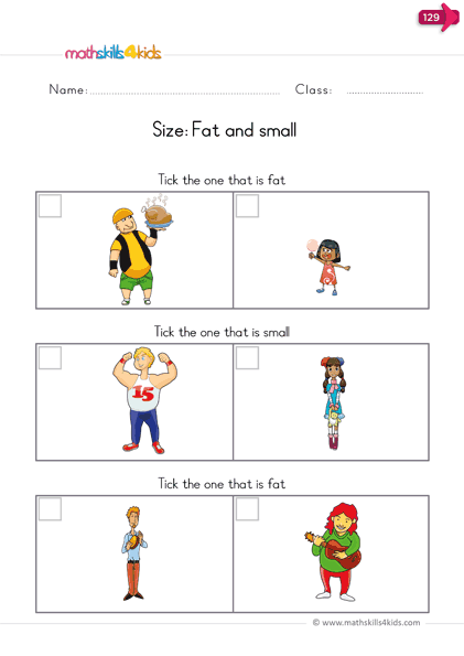 measurement worksheets - fat and small