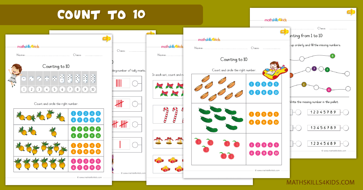 Kindergarten math worksheets - Learn to count to 10 worksheets