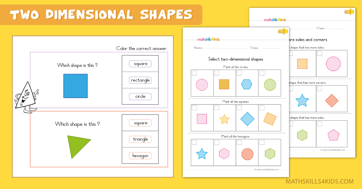 Kindergarten math worksheets - two dimensional shapes worksheets