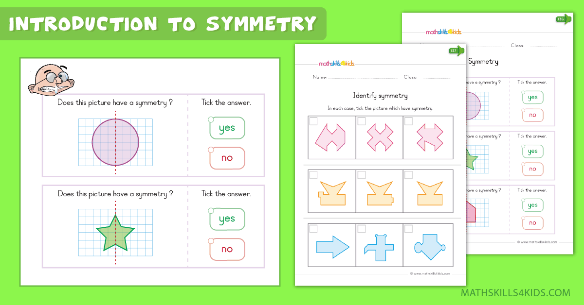 Kindergarten math worksheets - introduction to symmetry worksheets